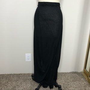 Pure DKNY Black Jersey Paneled Maxi Skirt, XS P
